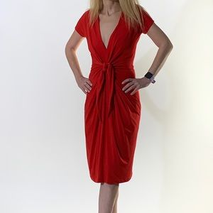 NWOT Bailey Red Front Tie Dress W/Pockets! Size SP
